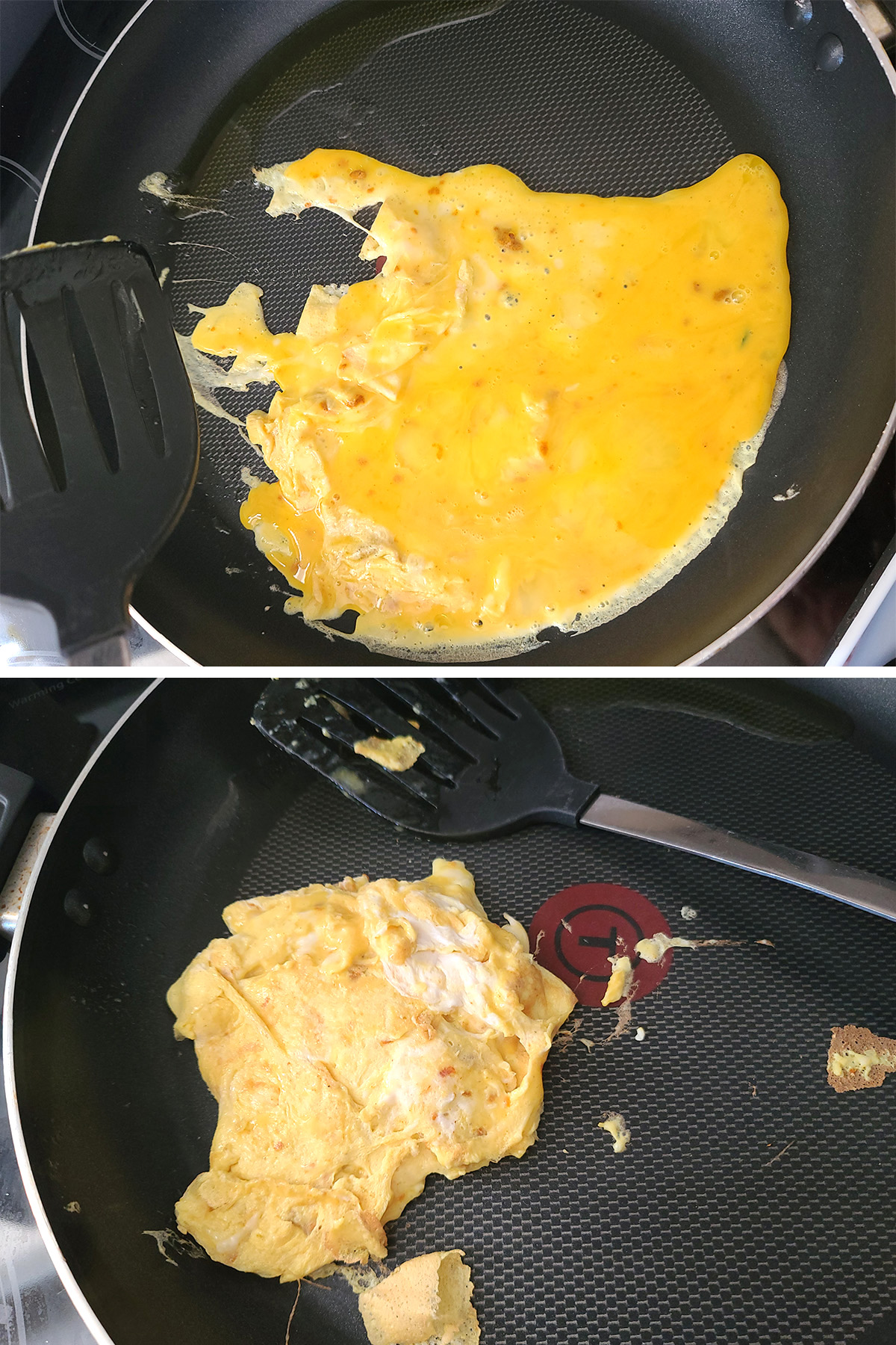 A two part compilation image showing eggs being scrambled.